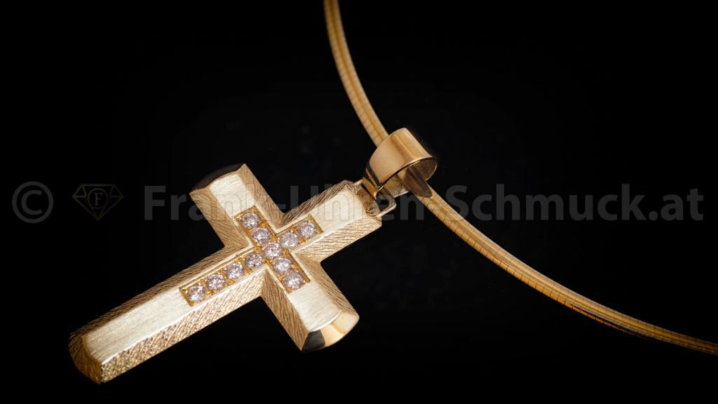 14K Gelbgoldkreuz mit Brillant