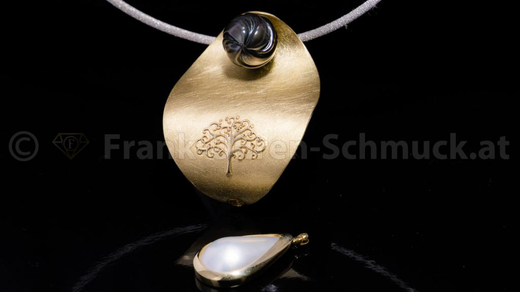 handgemachter 14K Gelbgoldanhänger mit Perlen