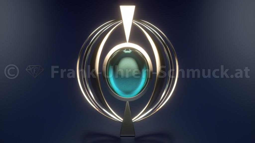 14K Gelbgold Designanhänger mit Aquamarin