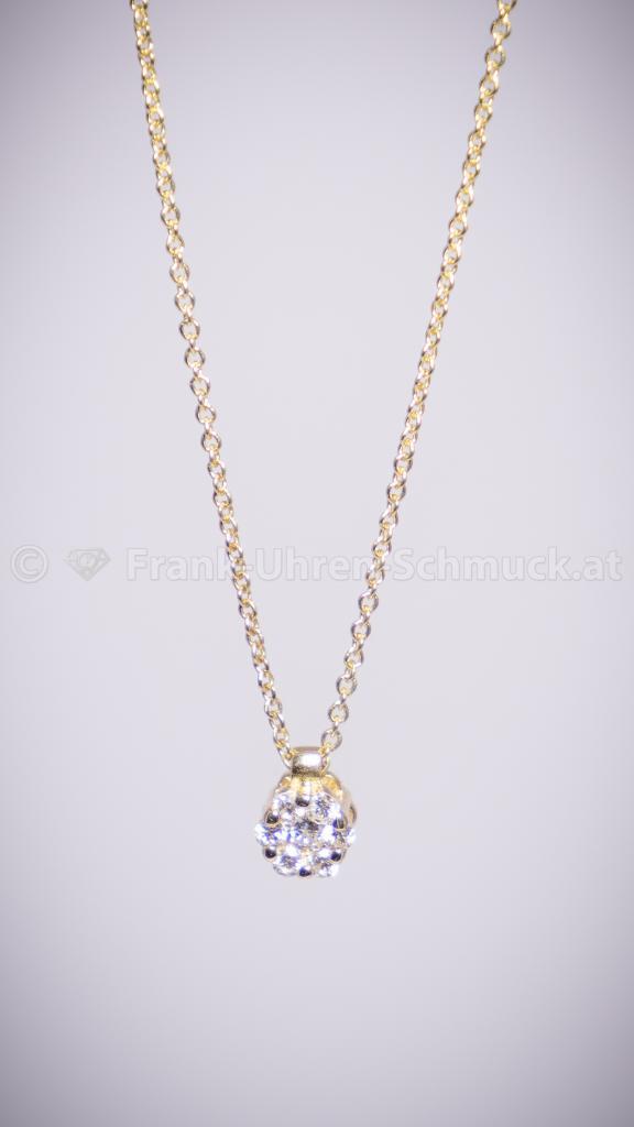 Diamantanhänger mit Kette in 14K Gelbgold