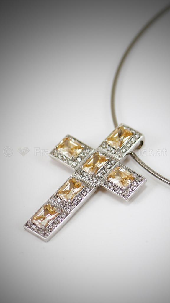 925 Silberkreuz mit Citrin und Zirkonia