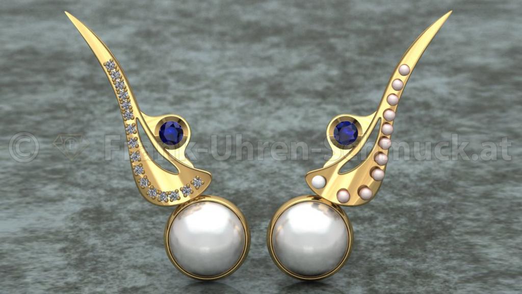 14K Ohrwurm mit Brillant Blausaphir und Perlen