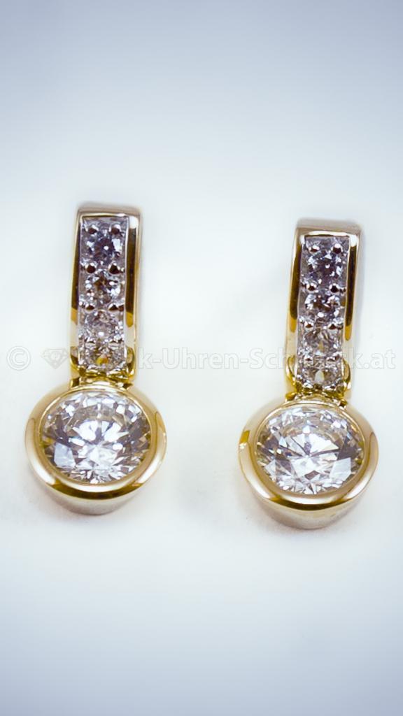 14K Gelbgold Ohrringe mit Brillant