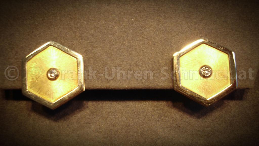 14K Gelbgold Designerohrringe mit Brillant