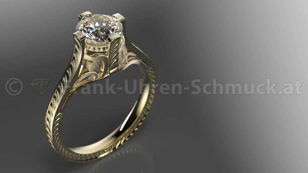 Vintage 14K Gelbgold Vorsteck / Verlobungsring