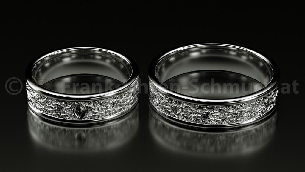 14K Weißgold Eheringe mit Navette Diamant