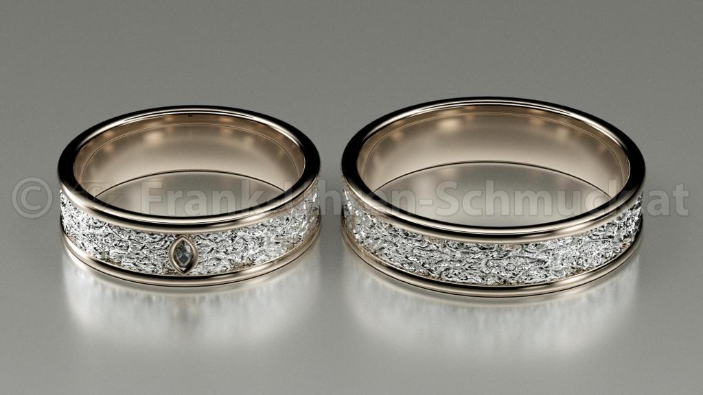 14K Gelbgold und Weißgold Eheringe mit Navette Diamant