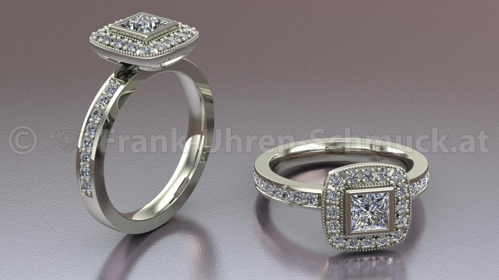 Prinzessring in 18K Weißgold mit Brillanten und einem Prizess Diamanten