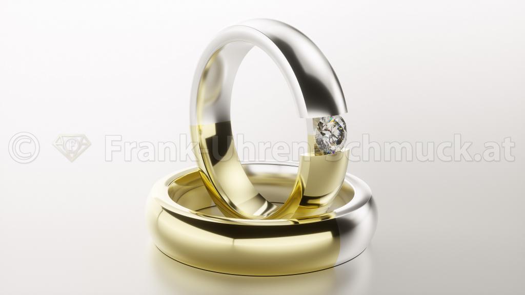 14K Weißgold Gelbgold Brillantring
