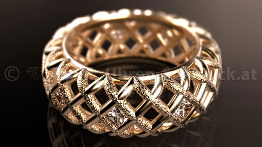 14K Designering in Gelbgold mit Diamant