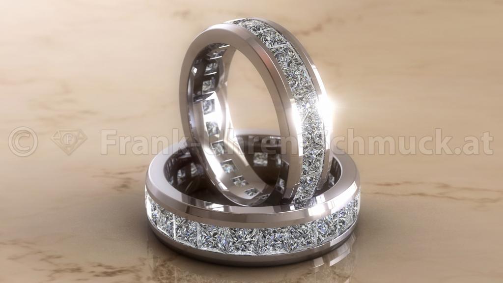 Platinring mit Prinzess Diamanten
