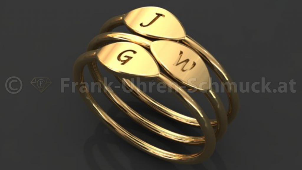 14K Gelbgold Buchstabenring