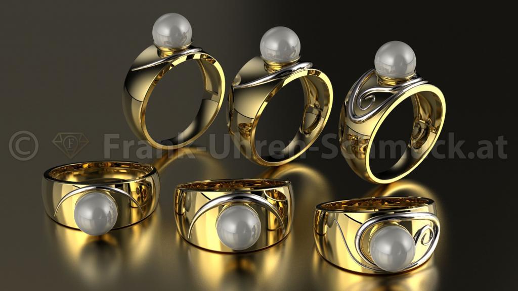 14K Gelbgoldring mit Perlen und Weißgoldzunge